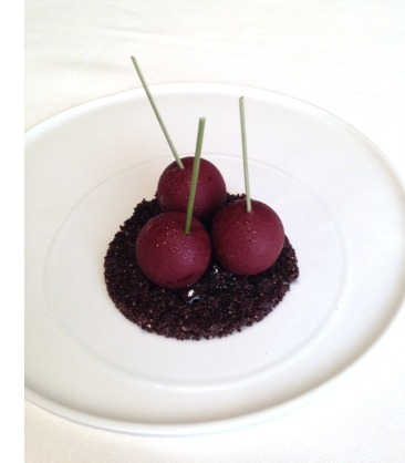 Tribute to Vignola. Cherries made of chocolate with sour cherry juice and chocolate biscuit with coffee.