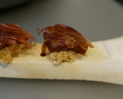 ... Puffed rice bone marrow, wagyu and myoga.