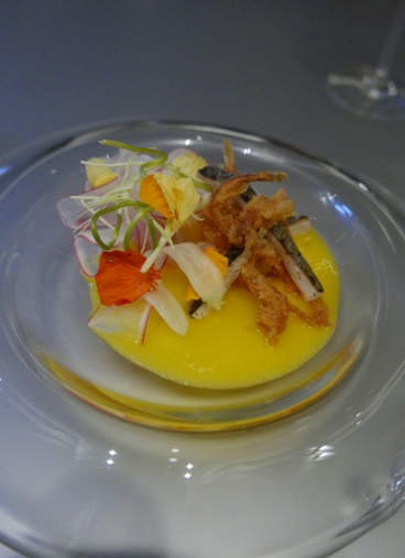 Aya (ice fish), kumquat and radish.