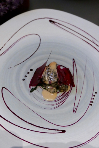 Glass: Morel, blueberry, lapsang souchong, rhubarb and black garlic.