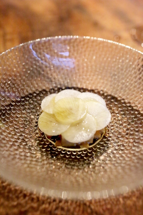 Radish - poached, grilled, and raw topped with clarifyed butter.