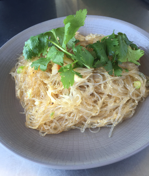 Cellophane noodles with green onion, dungeness crab and sesame.