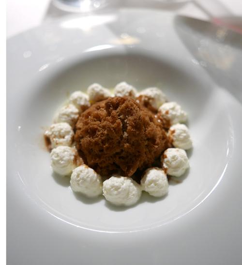 Licorice granita, white vinegar, white chocolate and balsamic vinegar.