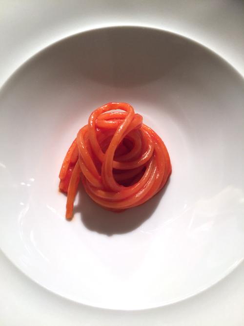 Spaghetti and tomato sauce.