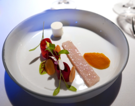 Char, carrot and smoked fish mousse.
