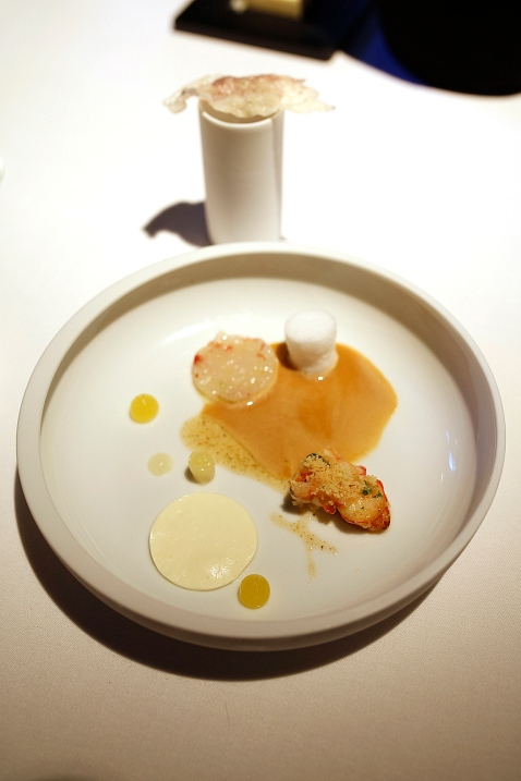 Langoustine - seared and tartar – with lemon. The langoustine it the only ingredients in the menu from outside Switzerland.